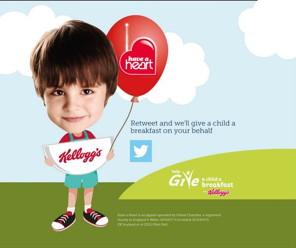 Give a child in need a breakfast by retweeting this pic. The more RTs, the more Have a Heart and Kellogg's will give. http://t.co/EwZbPlBlqA