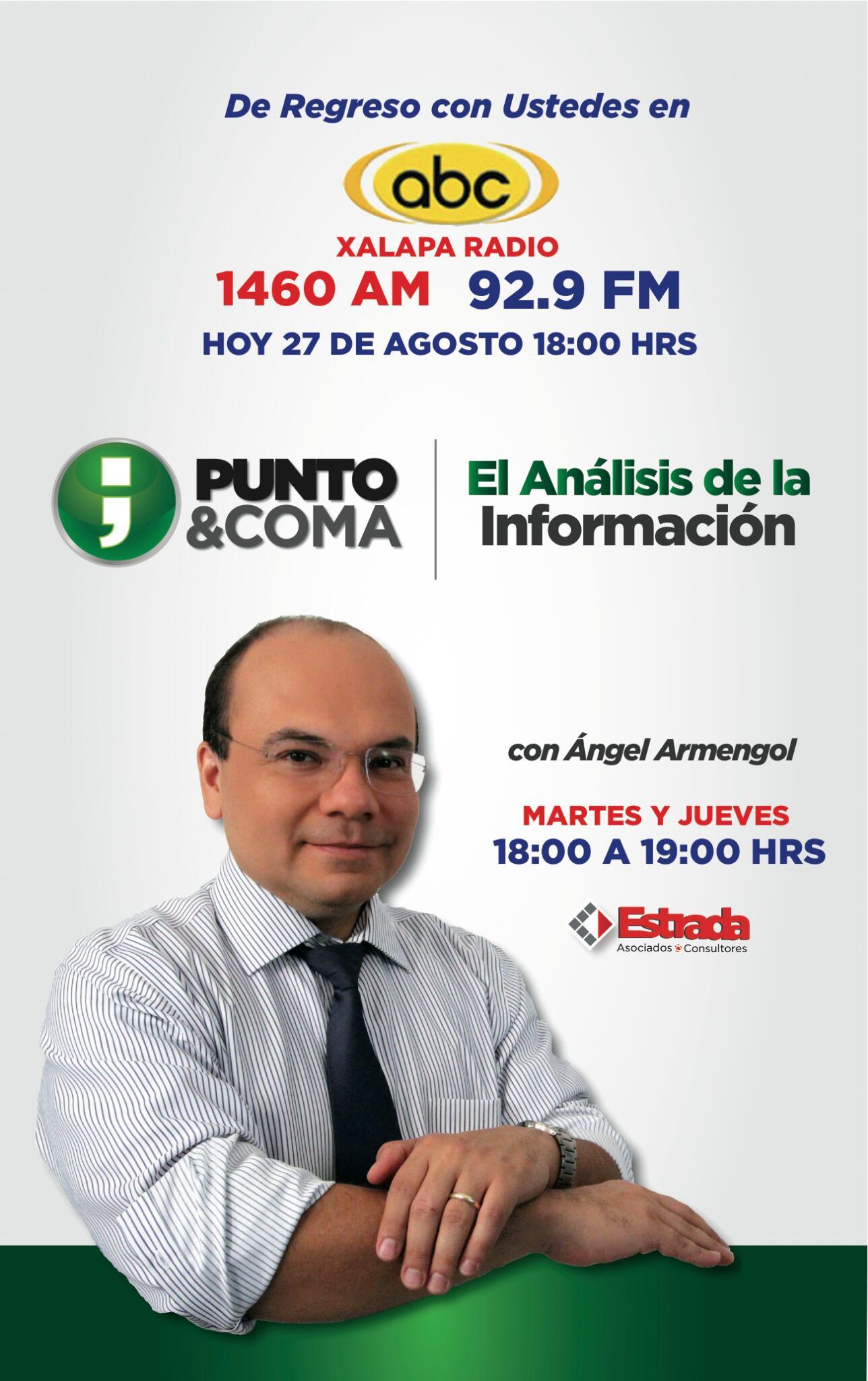 Acompáñenme hoy, a las 6 pm, en el 92.9 FM, ABC #Xalapa #Radio en un nuevo espacio de análisis y opinión #PuntoyComa http://t.co/4KlaZj8hwI