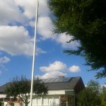 Back on road again after day in paradise. Thanks again Bjoern & Birte. Today every house has perfect lawn & flagpole.