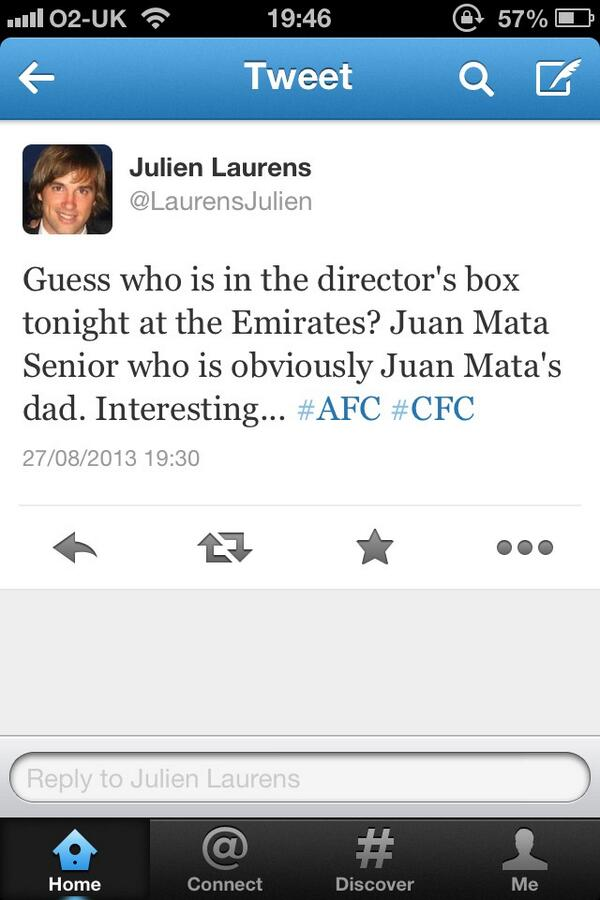 BSsjRg CUAAhr21 Father (and agent) of Chelseas Juan Mata in the directors box at the Emirates tonight