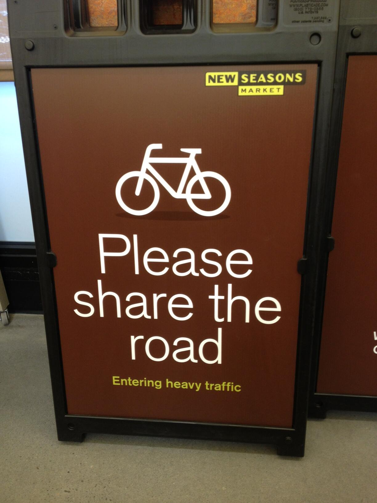 To help mitigate traffic craziness on Williams, @newseasons will have these A-frame signs up along the sidewalk http://t.co/IQUNBMJQaC