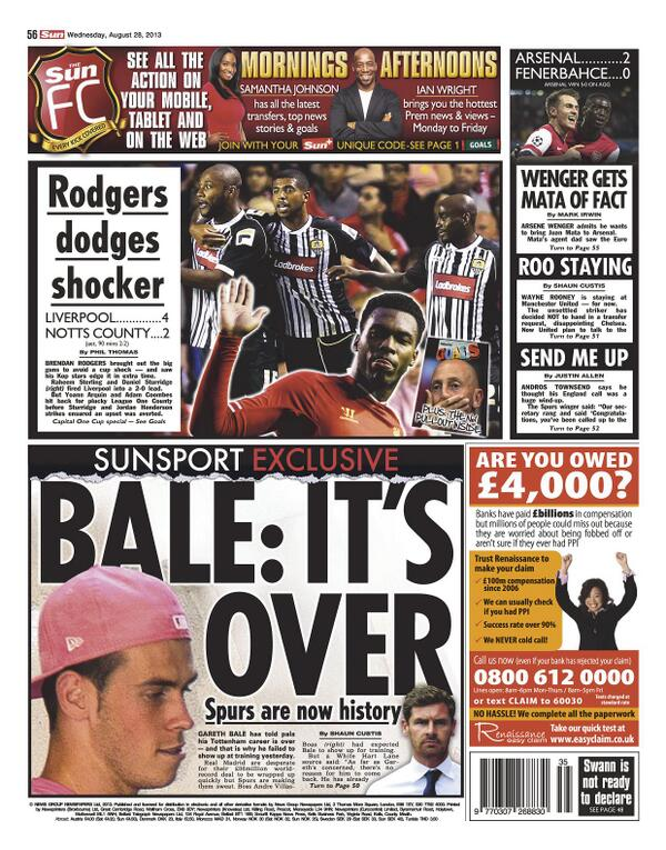 BStPQeoCAAAphZ5 The Gareth Bale Wednesday back pages: Angry forward will never train with Spurs again
