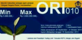 Penawaran ORI-10 (20 sept - 4 okt 2013) melalui Mandiri Sekuritas, tenor 3 tahun, holding period 1x pembayaran kupon. http://t.co/1bJr7RquIz