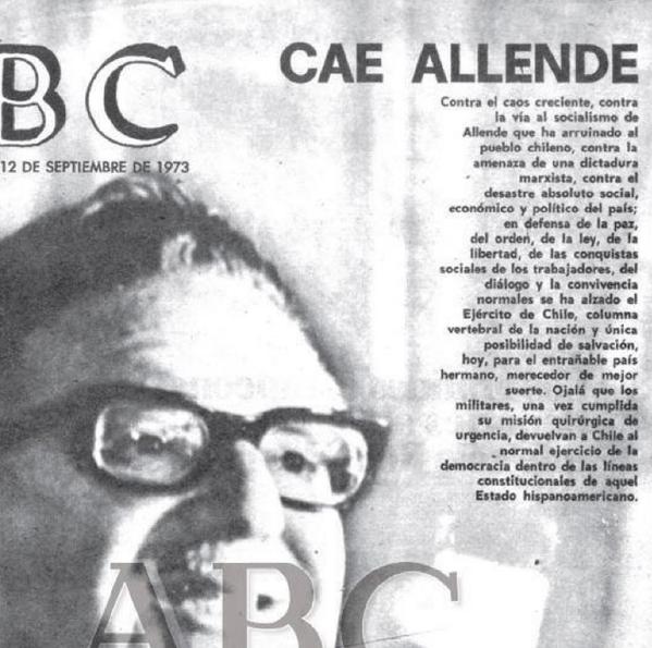 Xose Morais (@XoseMorais): Hace 40 años, ABC celebraba el asesinato de Allende y saludaba a Pinochet como