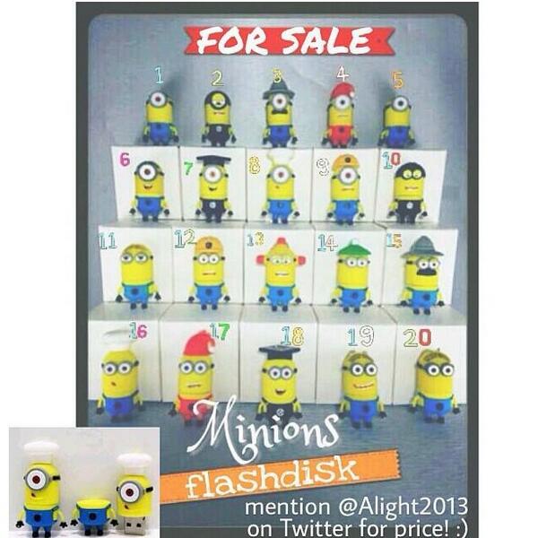 Temen temen yang suka minions, @Alight2013 jual USB Minions, available in 2gb, 4gb, 8gb, 16gb. Ayo dibeliii!! http://t.co/5zIIr1b6c0
