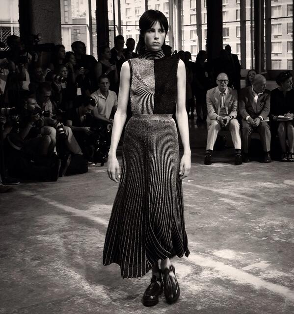 Edie Campbell at the #ProenzaSchouler show earlier today #NYFW @ebcampbell @proenzaschouler http://t.co/W0nxulFu7F