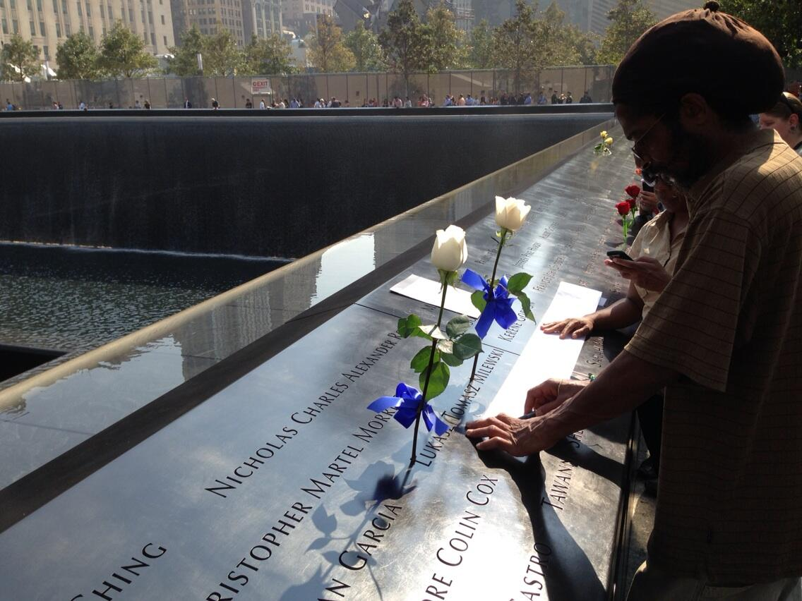 RT @peterhaskell880: Families @Sept11Memorial take etching of name.  Waterfalls provide a soothing sound.  @wcbs880 http://t.co/Bd8AmUz9kh