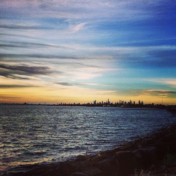 A tiny #Melbourne skyline as seen from St Kilda. Awesome shot by @tomgroombridge! (Shared via IG) http://t.co/iy6OR97bQi