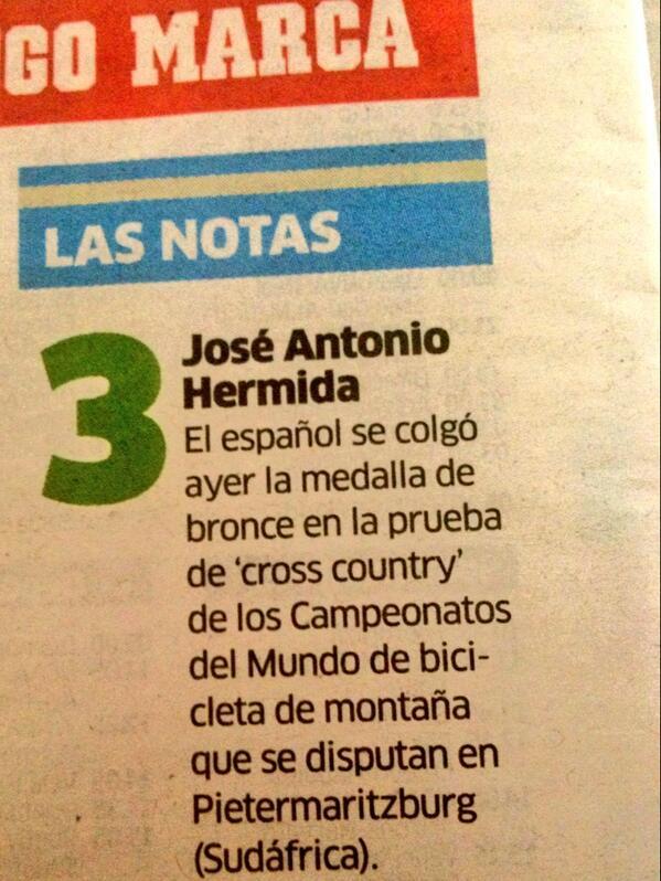 RT @juanmanaran: Hoy @marca da los tres puntos de la contra al gran @Josehermida por su podio ayer!! Que bueno que se acuerden dl MTB http:…