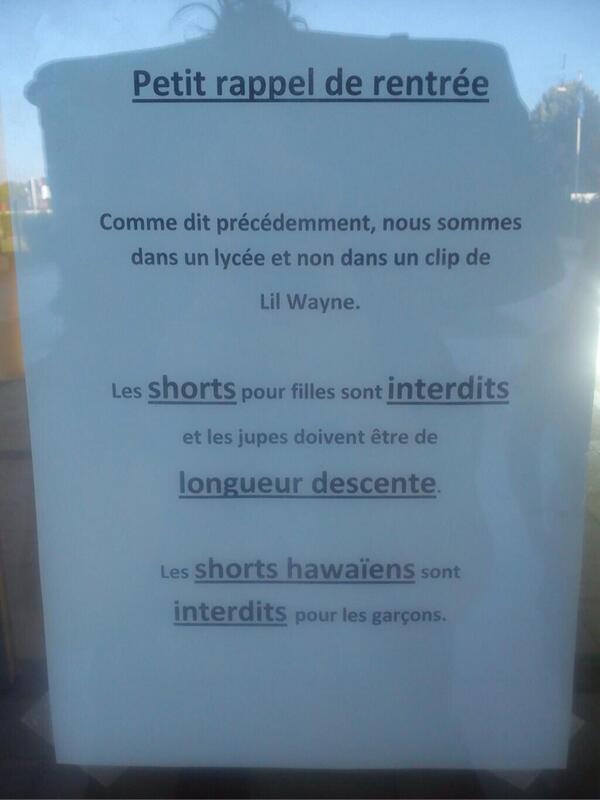 RT @l_amande: Les jupes sont descentes et le français indécent RT @Call_Me_Nikita: Bonne rentrée les catins http://t.co/y1Os28iiq7 (via @SophieBrux )