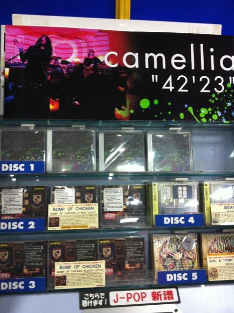 """[地元なめんな] camellia、""""42'23""""本日発売。 タワー千葉店、流石ですよ。ここではBUMP OF CHICKENより高い位置にあります。  つっても彼らは千葉県佐倉市の先輩です。  チェックプリーズ。 http://t.co/WEkPxeebPb"""