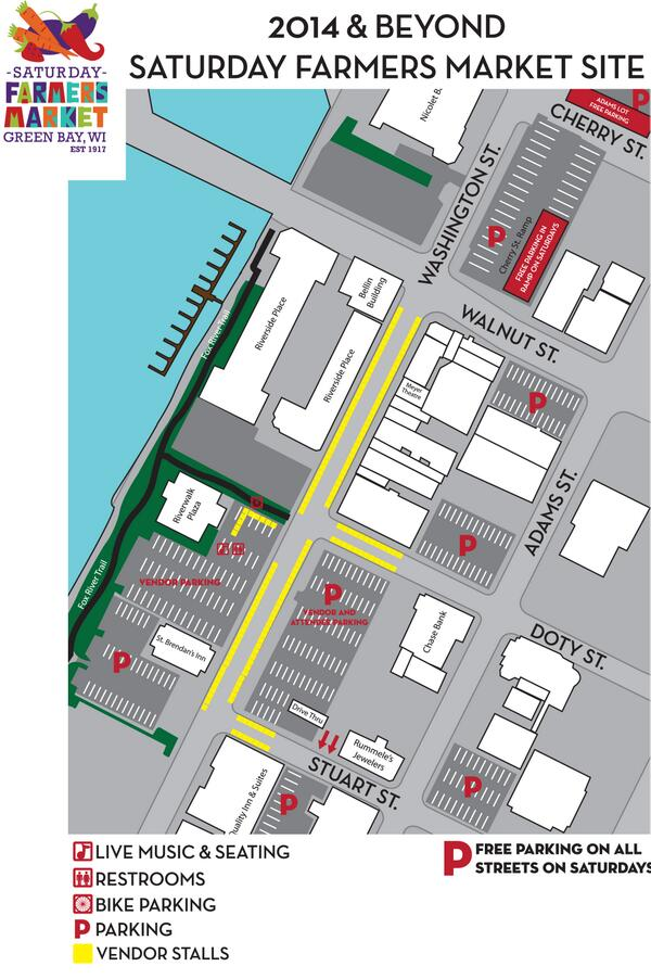 Heres a map showing the new downtown green bay farmers market