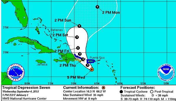 RT @cristianperalca: Imagen de esta tarde proporcionada por la @NOAA sobre curso pronosticado Depresión 7.  @liselman @noticentro13 http://t.co/k8HW5EfTTr
