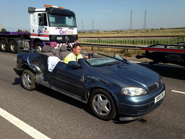 RT @joepike: One of the cars involved in Sheppey mass pile-up being driven away. No roof. Amazing no one was killed. @lbc973 http://t.co/1vSgRshKbS