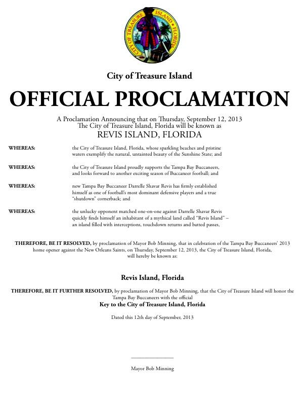 I want to thank Mayor Bob Minning of Treasure Island, for Renaming the town Revis Island, Florida today. http://t.co/Cujwkd5BQg