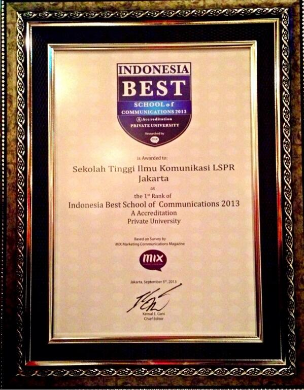 [Achievement] LSPR is awarded the 1st rank in category Indonesia Best School of Communications 2013 http://t.co/9VR8Y66xJ7