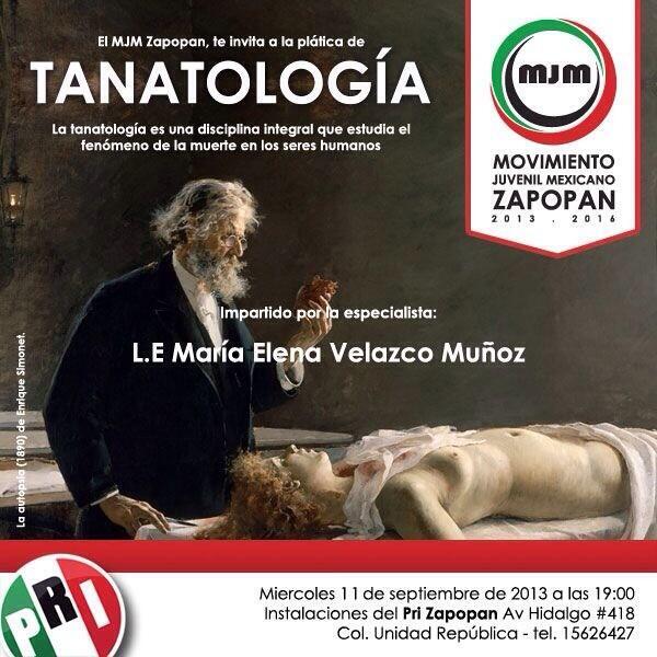Plática de Tanatología en @ZapopanPRI de @MJMZapopan LE. María Elena Velazco fenómeno de la muerte http://t.co/YBcPQlMjxY