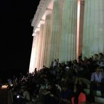 RT @jeff_foust: The steps outside the Lincoln Memorial are packed with people awaiting the LADEE launch.