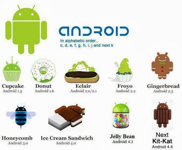 안드로이드 마스코트 모음. 컵케익(C)부터 킷캣(K)까지. http://t.co/wqbvGwm74O