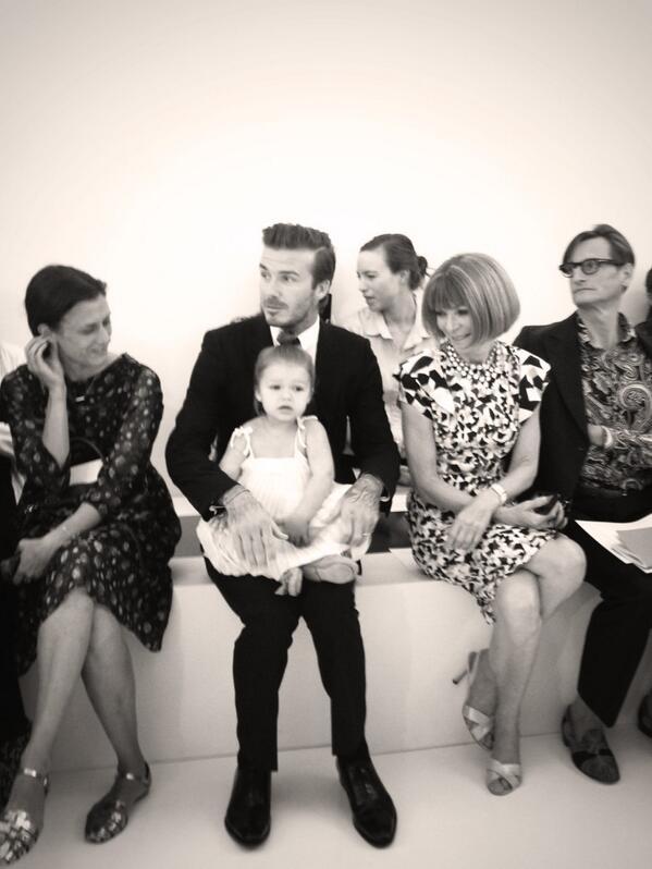 David Beckham and Harper Seven sitting front row at the Victoria Beckham show #NYFW #VictoriaBeckham #FashionWeek http://t.co/ClGq5GlTMH