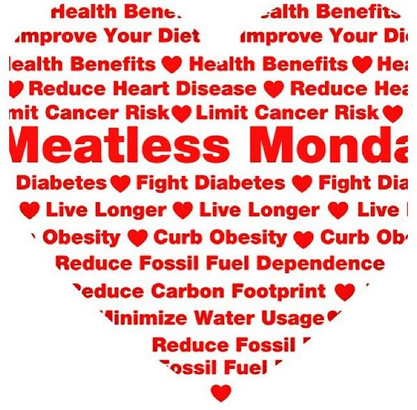So many reasons to go meatless on Mondays for your health & the health of our environment! @MeatlessMonday http://t.co/qzXnR5kpPo