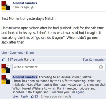 BU2kopdCYAEFYX9 Rumour: Arsenals Mathieu Flamini threatened to blind Stokes Marc Wilson
