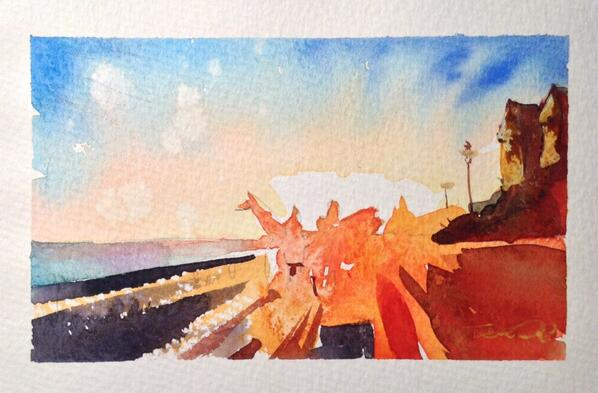 """""""Jelly Arms"""" watercolour - surfers on the way home after a sunset session. #woolacombe #watercolour #stevepp #art http://t.co/pCgHhOb2AV"""
