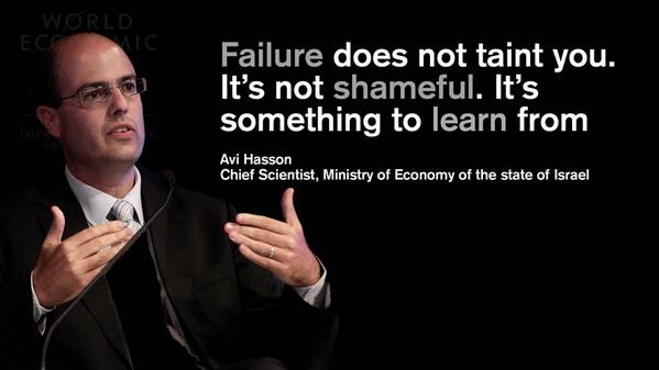 Failure does not taint you. It's not shameful. It's something to learn from - Avi Hasson #AMNC #WEF http://t.co/qxsOEFo0J7