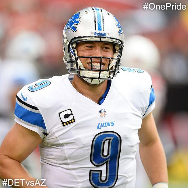 Stafford = Happy quarterback after that 1st half #DETvsAZ #OnePride http://t.co/W3jThgfw1f