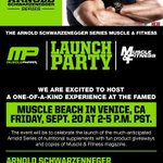 RT @MusclePharm: The #ArnoldSeries @Schwarzenegger @muscle_fitness Launch Party! Friday Sept 20 at Muscle Beach 2 pm! http://t.co/lx2RVOaSxR