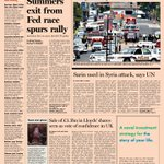 Here's a sneak peek at the front page of the US Financial Times - Tuesday, September 17