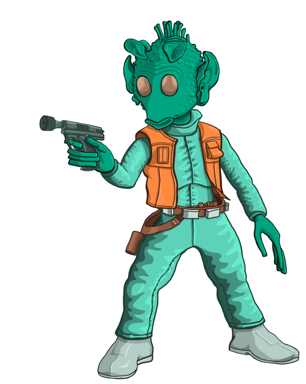 finished #greedo today! Not as perfect as I wanted, but I will continue to practice. #wacom #designlove #starwars http://t.co/JQ8HflGcm9