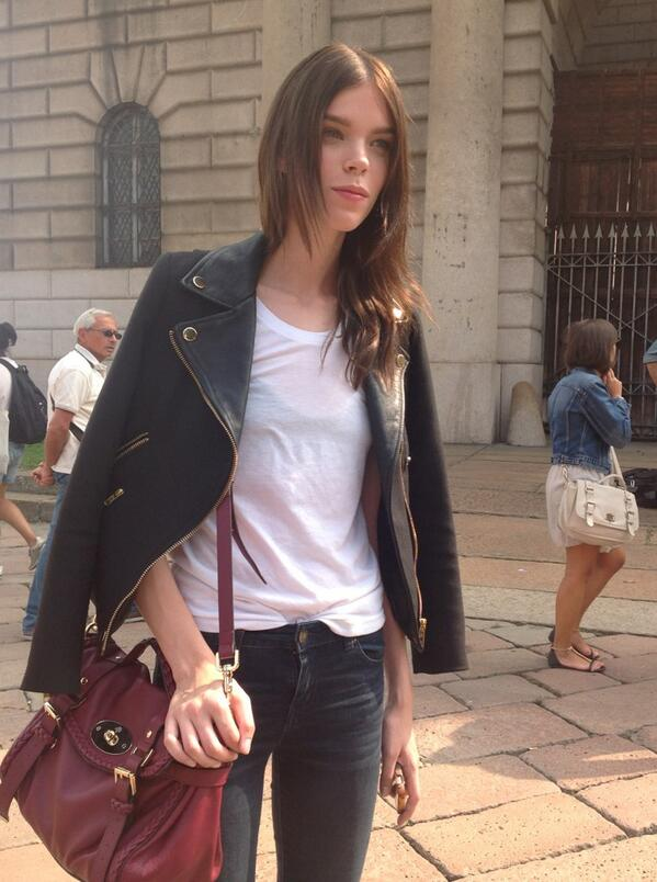 Canadian top girl @meghancollison has a full-booked agenda in Milano. Just after the @Roberto_Cavalli show #mfw http://t.co/WWraZ0dR5H