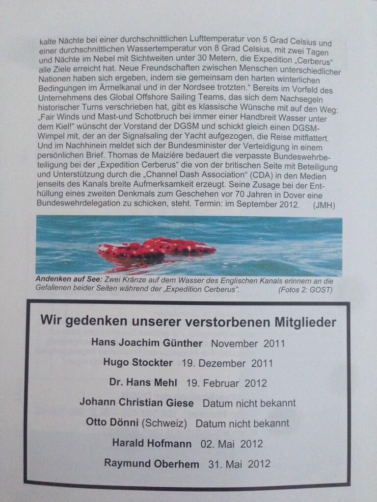 """Media Relations: DGSM Magazine """"Der Signalgast"""" reports about the """"Channel Dash"""" - 4of4 http://t.co/w5bqW0WabR"""