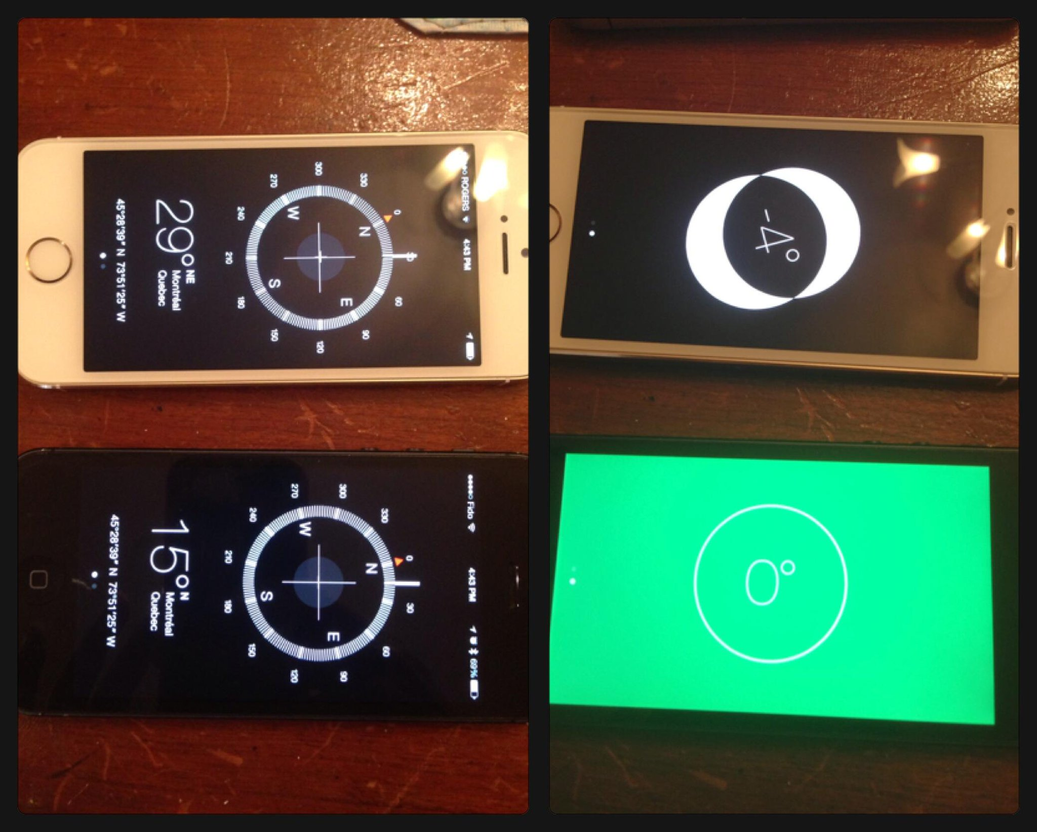 RT @Georgia_Prime: Yes the compass and level on the iPhone 5s is really off vs iPhone 5 http://t.co/xlpYvVOiCm