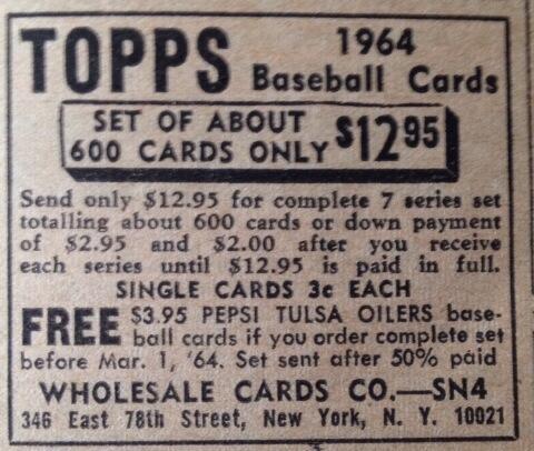 Classic Ads: For 1964 Topps Set ($12.95) http://t.co/jNfQWpmdMr