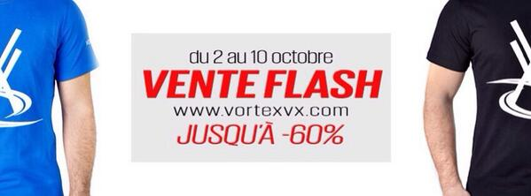 Vortex Officiel (@VortexOfficiel): VENTE FLASH VORTEX! Du 2 au 10 octobre jusqu'à -60% de réduction sur une sélection d'articles http://t.co/iaD7H1eIeQ http://t.co/AOTJguoe60
