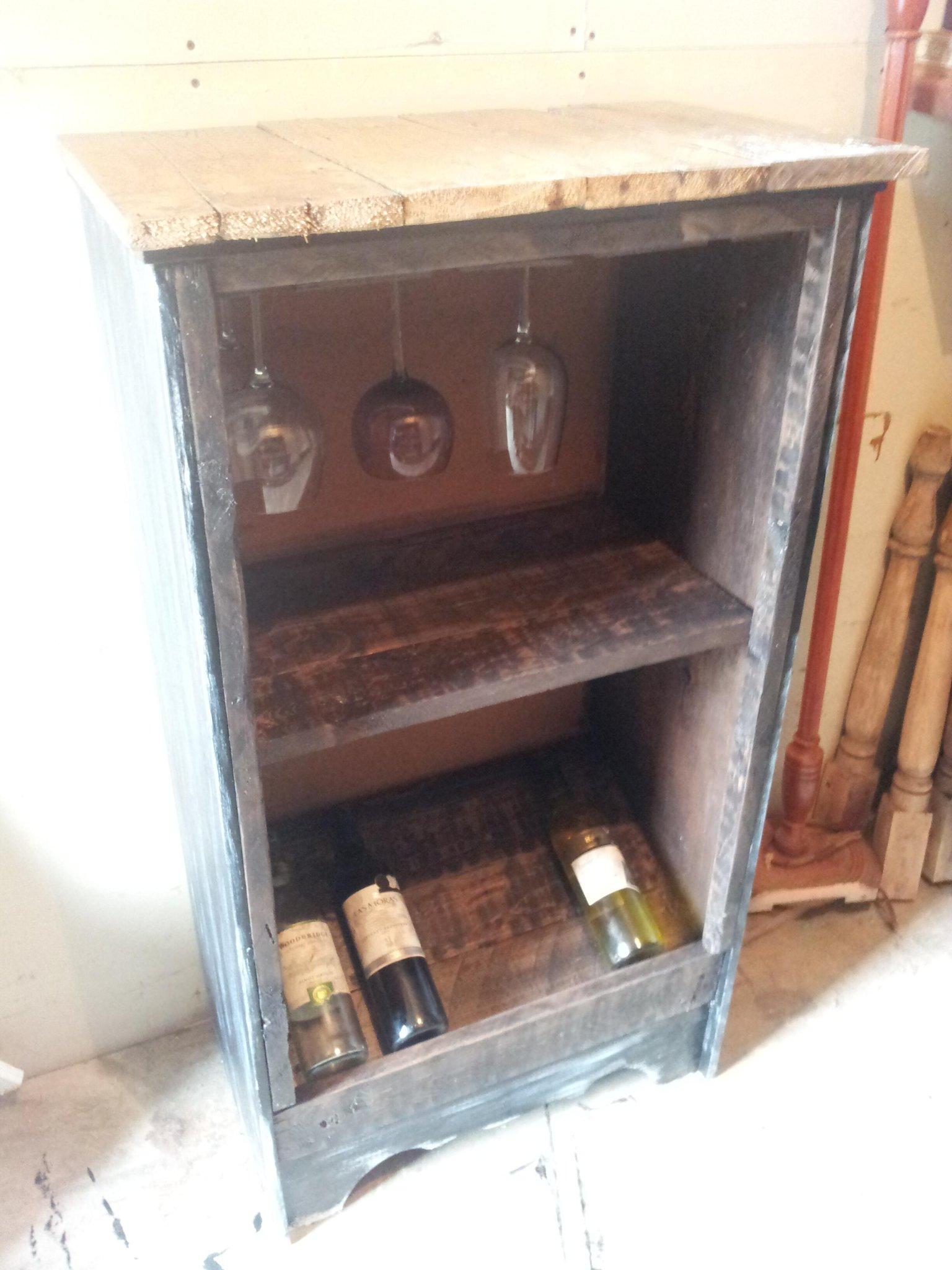 Sneak peek: wine n glass cabinet 100+ yr old floor boards ontop wood pallets inside #repurposeddresser #unique http://t.co/zLcGk88MZw