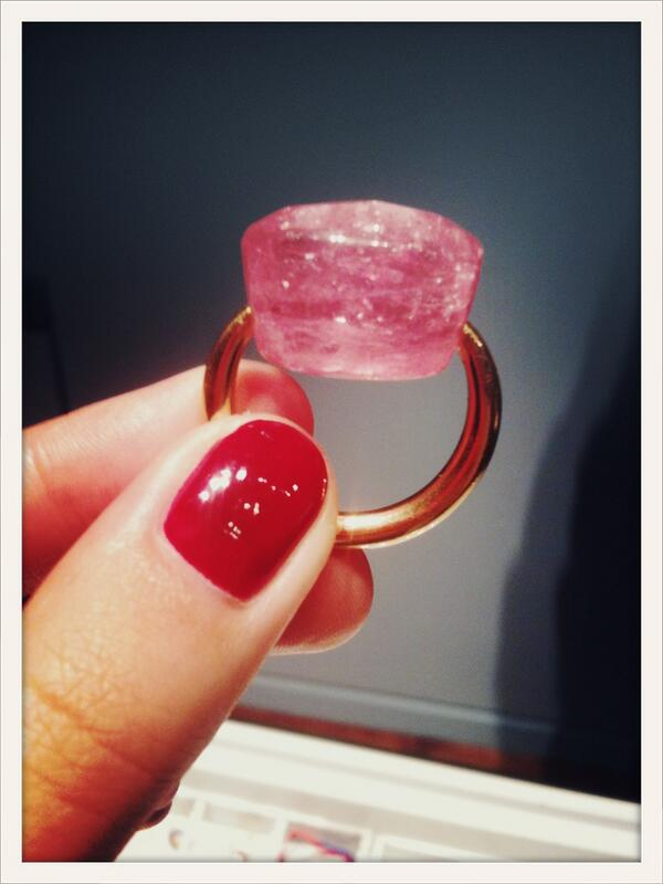 Tonight's guilty pleasure: a raw 40 carat tourmaline ring by Marie-Helene de Taillac #PFW http://t.co/41SO50AwBY