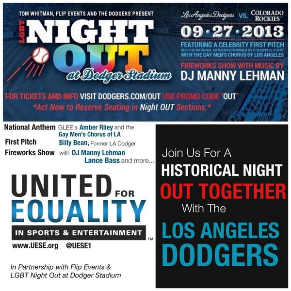 Join @UESE1 Friday Night For A Historical LGBT Night OUT At Dodger Stadium with @Dodgers @LanceBass @MsAmberPRiley http://t.co/Fe3XZvfnVT