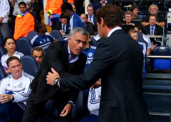 The tense pre match handshake between Jose Mourinho & AVB