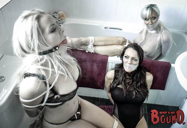 BorderlandBound (@Borderland7): #Stunning #threesome @hannahclaydon13 @nakeygirl1 @jennahoskins all #boundandgagged in the bathroom, no less! http://t.co/DGHBMBWnDm