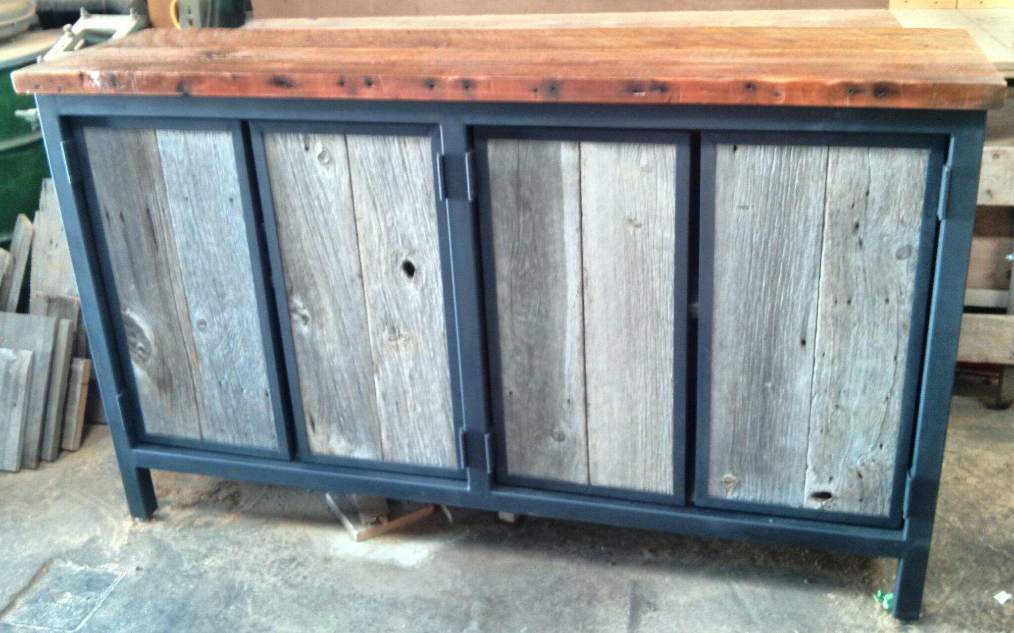 Just completed - steel/reclaimed wood cabinet - client brought steel base and we filled it with barn board http://t.co/EvlnD6vcyR
