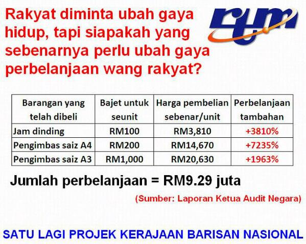 RT @serambikeramat: RTM..rancangan tipu 1 malaysia..harga yg murah dibeli dengan harga yg mahal http://t.co/u0xb09kYeS