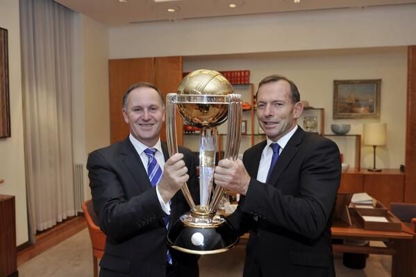 RT @TonyAbbottMHR: 500 days until the start of the 2015 Cricket World Cup. Pleased to hold the trophy tonight with @johnkeypm ! http://t.co/4gdaXviPkt