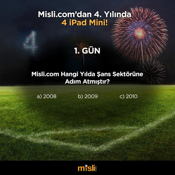 misli.com (@mislicom): Günün ilk sorusu geliyor! Soruyu cevaplayın, bu tweet'i RT edin bizi takip etmeye devam edin! #MisliDörtYaşında http://t.co/qXC11wfiln