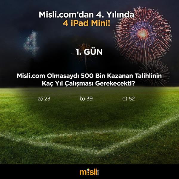 misli.com (@mislicom): Günün ikinci sorusu geliyor! Soruyu cevaplayın, bu tweet'i RT edin bizi takip etmeye devam edin! #MisliDörtYaşında http://t.co/o95gxWfqbr