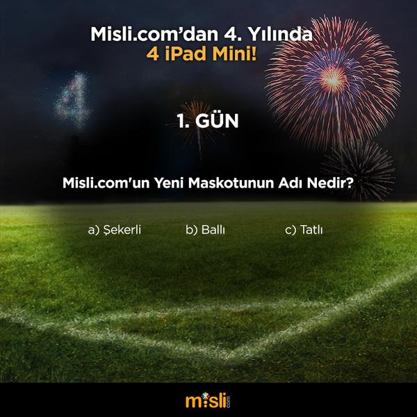 misli.com (@mislicom): Günün son sorusu geliyor! Soruyu cevaplayın, bu tweet'i RT edin bizi takip etmeye devam edin! #MisliDörtYaşında http://t.co/ec5IbROZO1