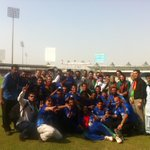 Afghanistan team celebrates after its win against Kenya sees it qualify for #cwc15 @cricketworldcup #cricket http://t.co/NeQ10jYfLY