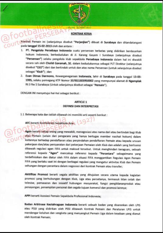 Halaman 1 - Kontrak antara Persebaya Surabaya (1927) dgn Evan Dimas *bbrp bagian sengaja kami sensor krn faktor etika http://t.co/df1zhTwXbe